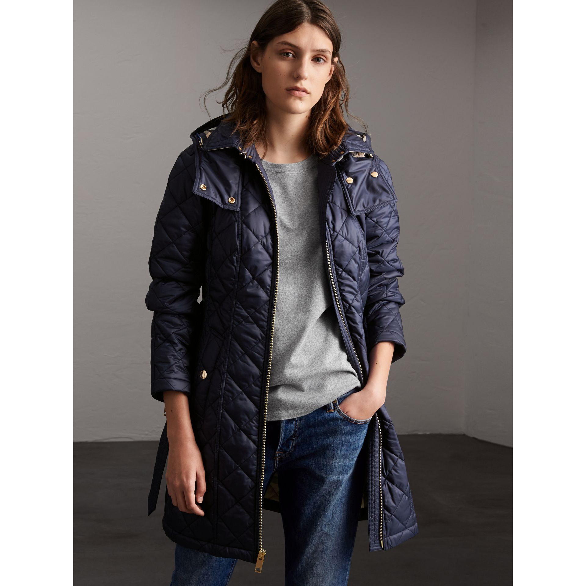 Detachable Hood Quilted Showerproof Parka in Ink - Women | Burberry - gallery image 1