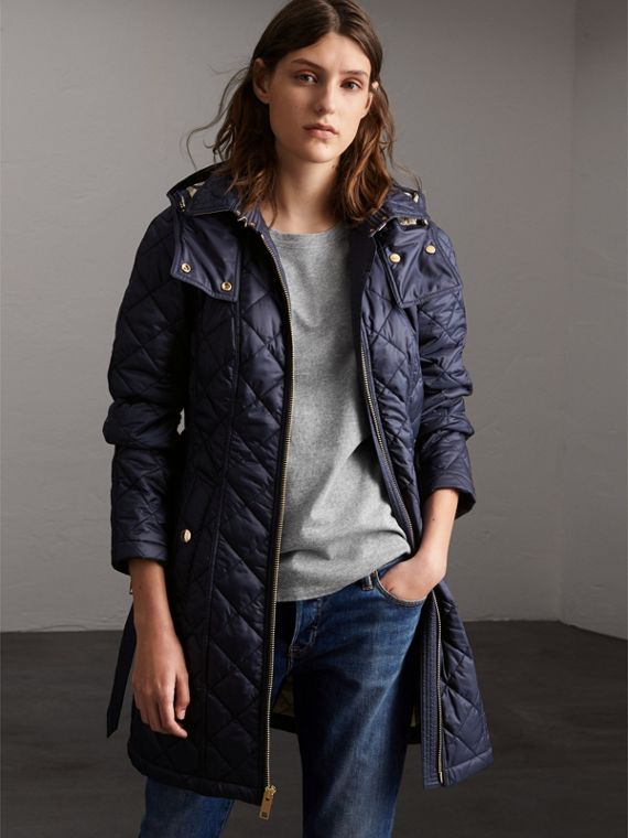 Detachable Hood Quilted Showerproof Parka in Ink