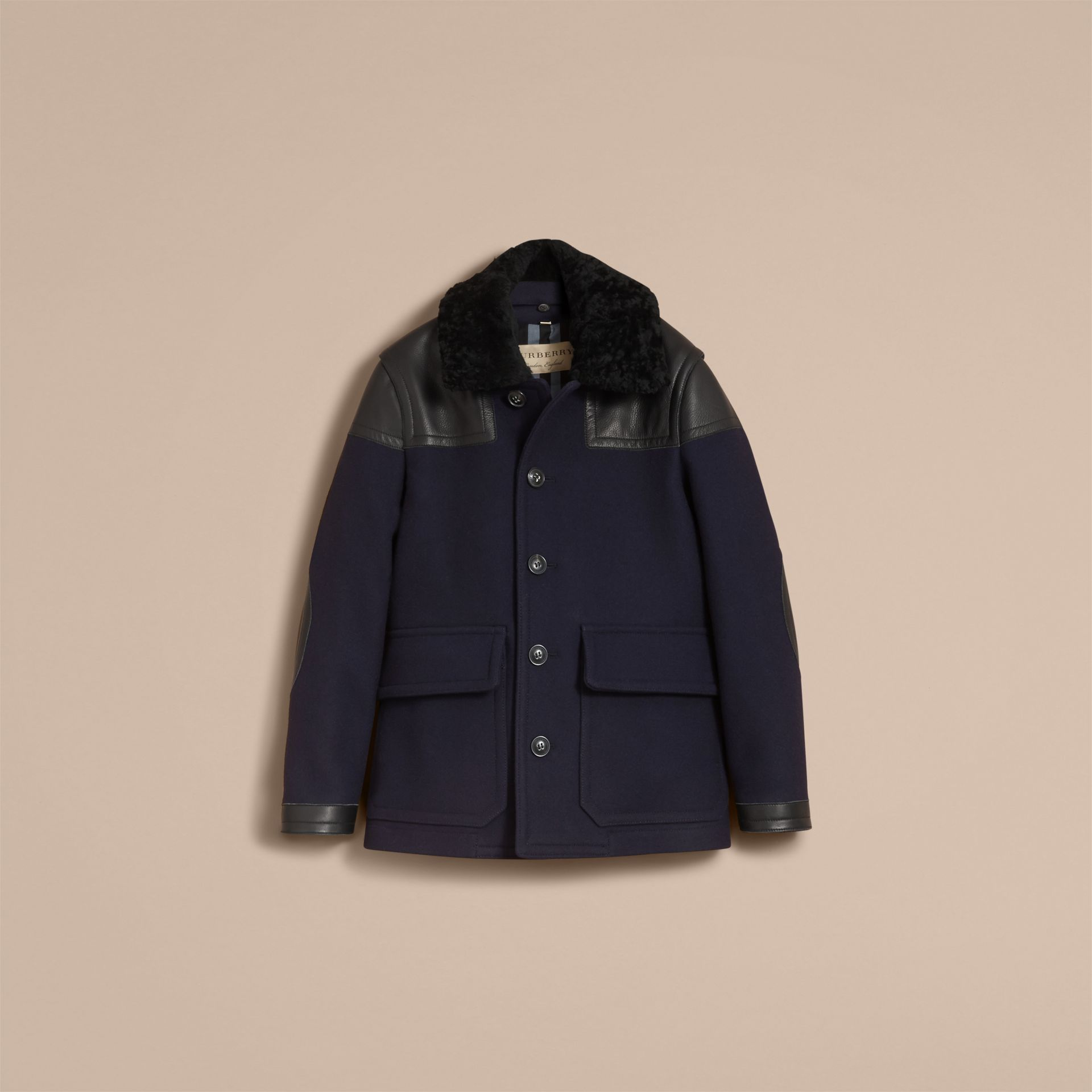 Pea Coat with Detachable Shearling Topcollar - gallery image 4