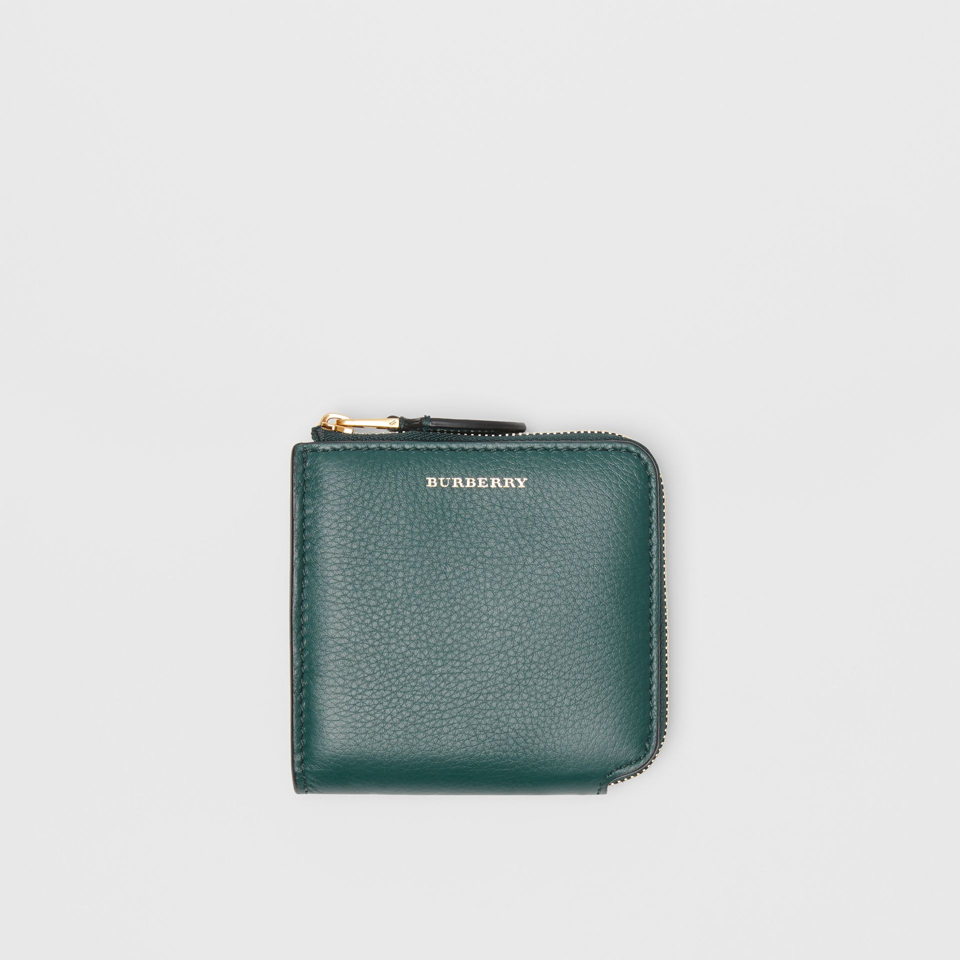 Grainy Leather Square Ziparound Wallet in Dark Cyan - Women | Burberry - gallery image 0