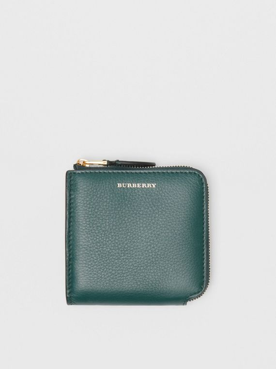 Grainy Leather Square Ziparound Wallet in Dark Cyan