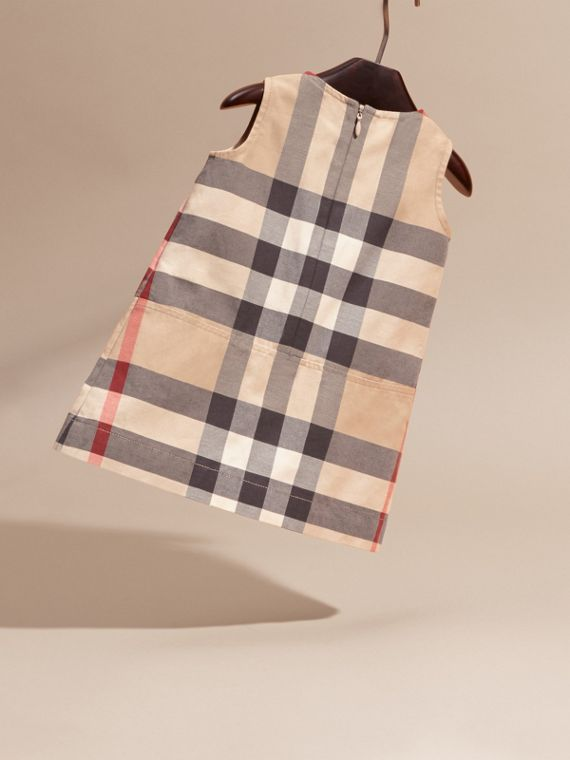 Washed Check Cotton Dress in New Classic | Burberry - cell image 3