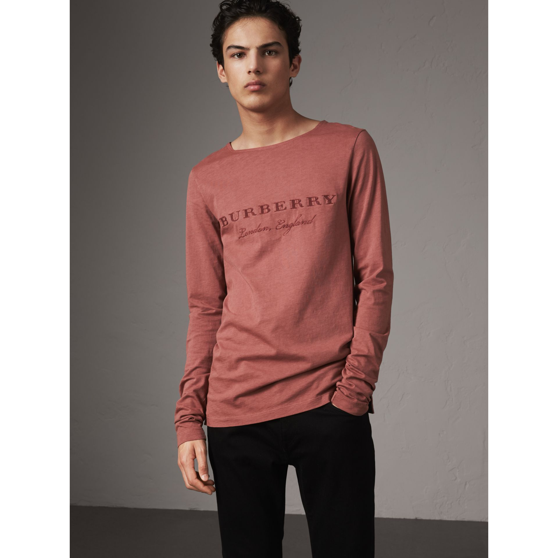 Long-sleeve Embroidered Cotton Top in Rosewood - Men | Burberry - gallery image 0