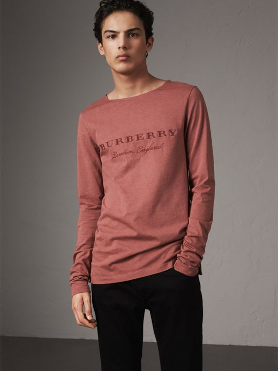 Long-sleeve Embroidered Cotton Top in Rosewood