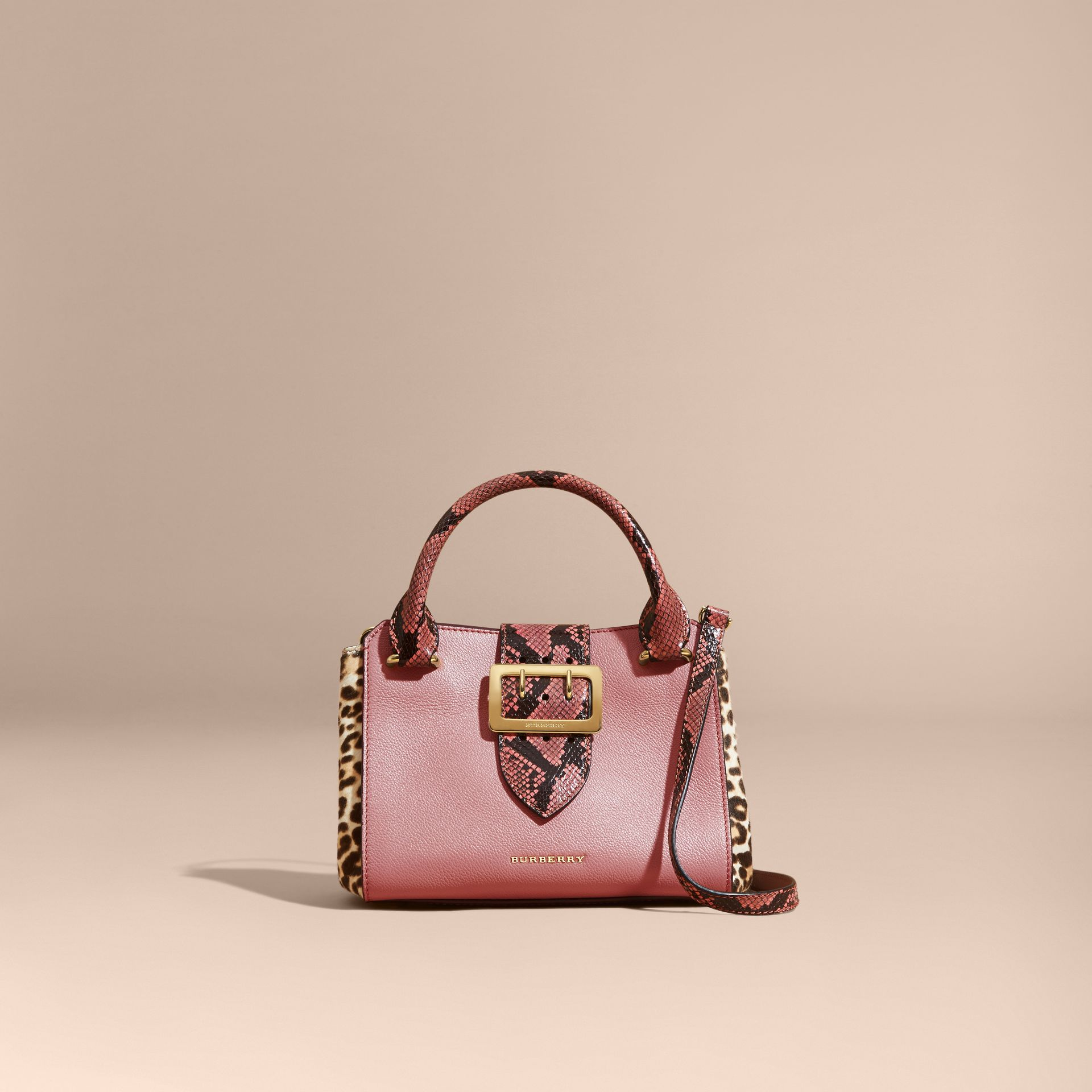 Dusty pink The Small Buckle Tote in Leather and  Leopard-print Calfskin Dusty Pink - gallery image 9
