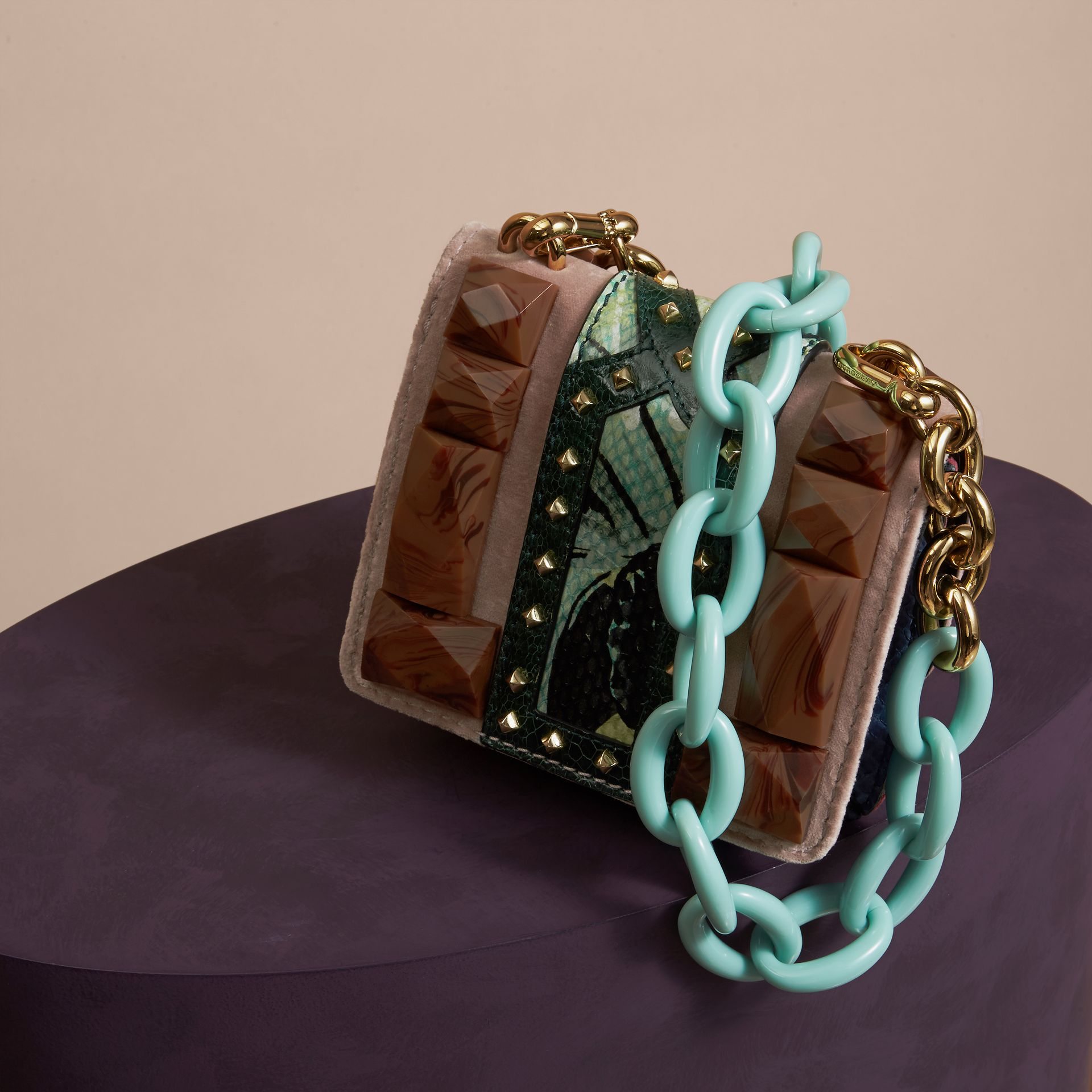 The Mini Square Buckle Bag in Velvet and Floral Print Snakeskin - gallery image 4