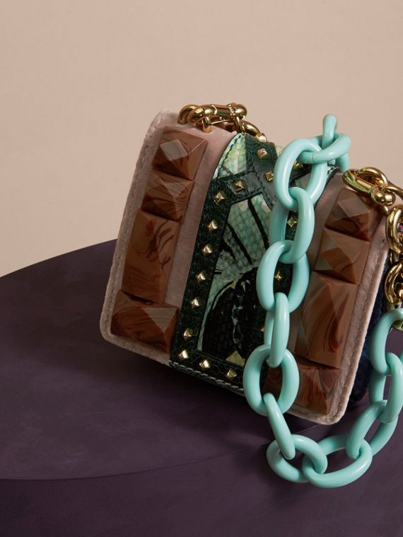 Ash rose The Mini Square Buckle Bag in Velvet and Floral Print Snakeskin - cell image 3