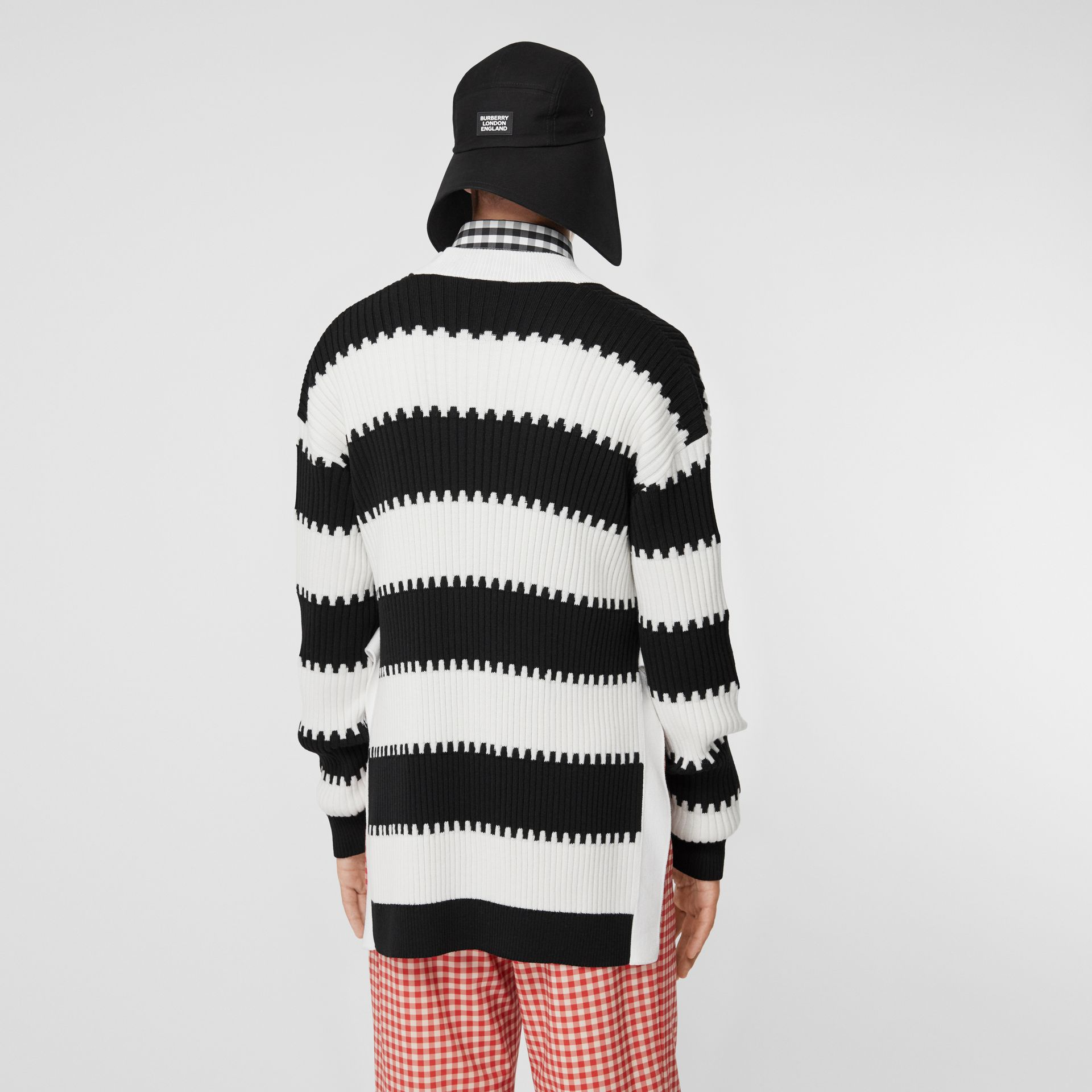 Side-slit Striped Rib Knit Wool Sweater in Black | Burberry - gallery image 2