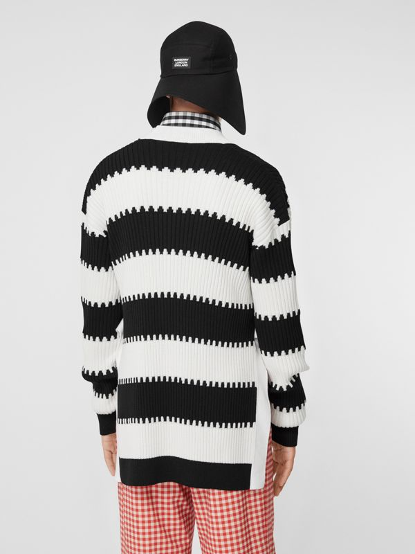 Side-slit Striped Rib Knit Wool Sweater in Black | Burberry - cell image 2