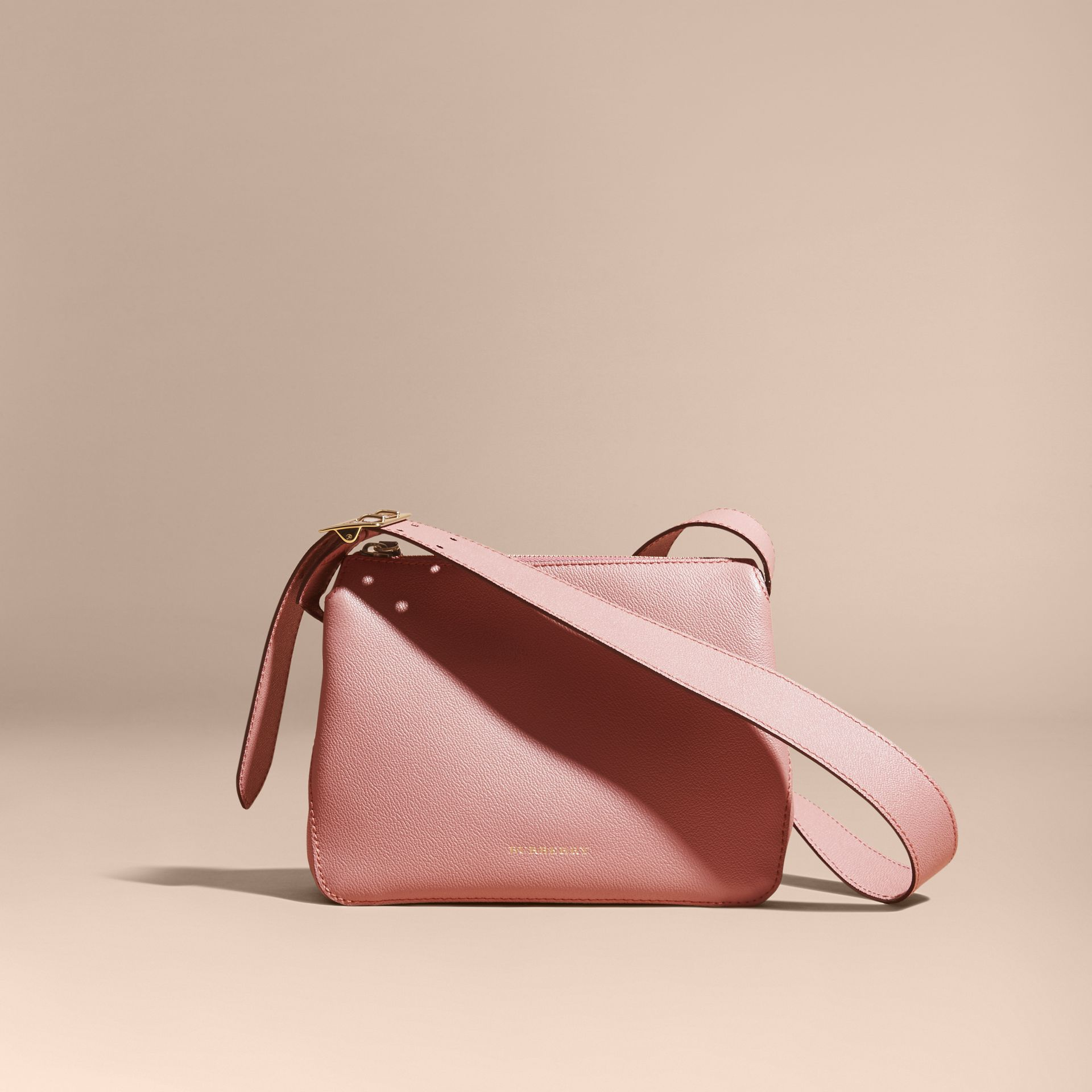 Buckle Detail Leather Crossbody Bag Dusty Pink - gallery image 8