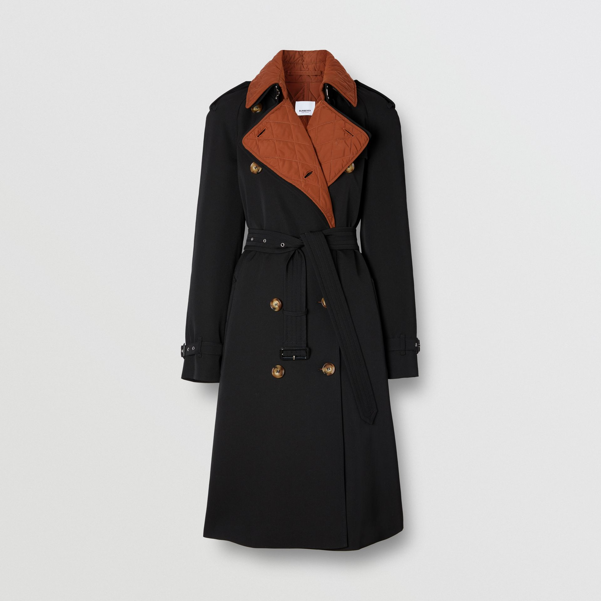 Wool Gabardine Trench Coat with Detachable Warmer in Black - Women | Burberry - gallery image 3