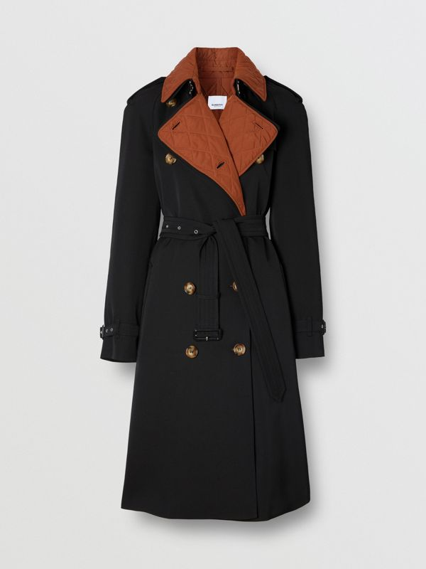 Wool Gabardine Trench Coat with Detachable Warmer in Black - Women | Burberry - cell image 3