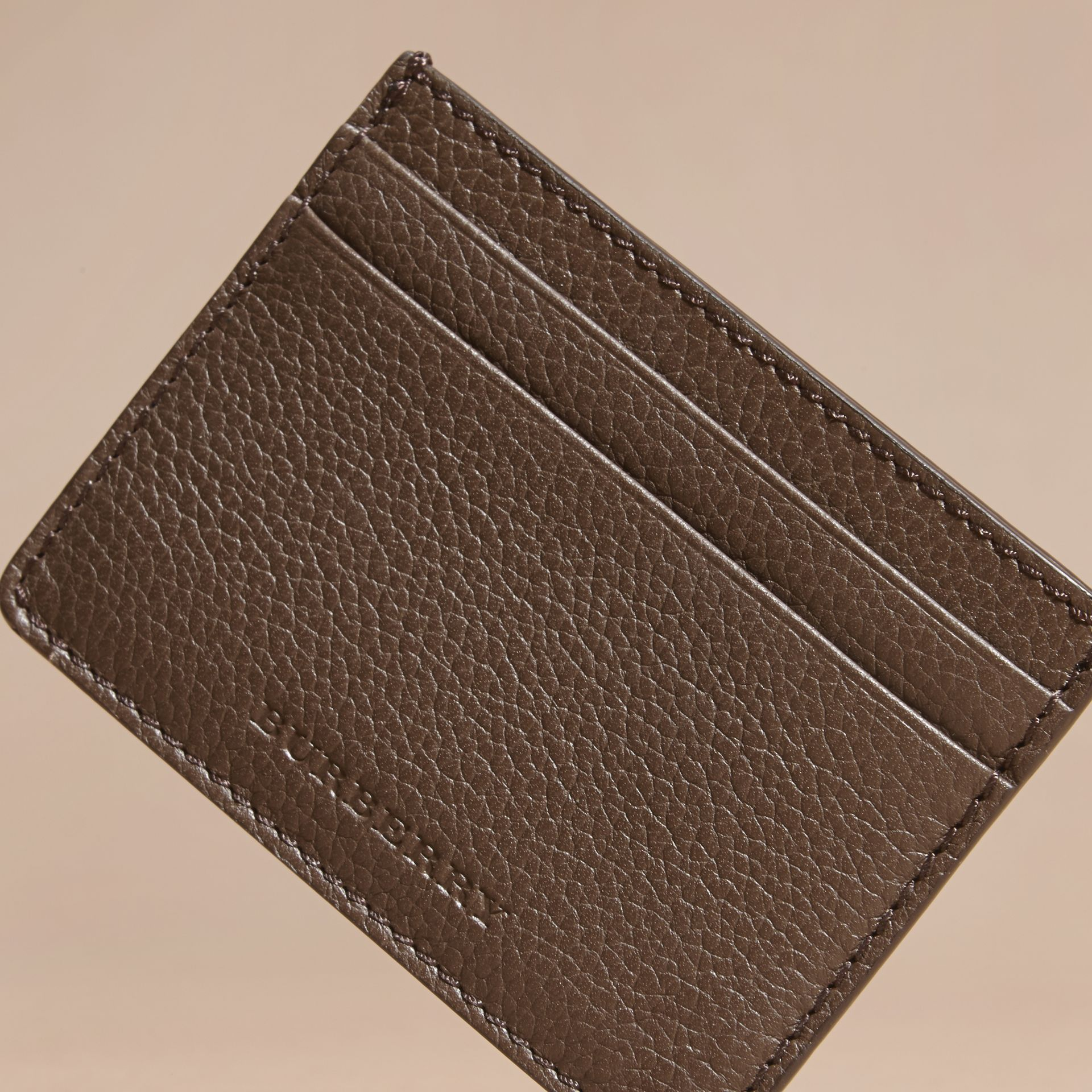 Deep taupe brown Grainy London Leather Card Case Deep Taupe Brown - gallery image 3