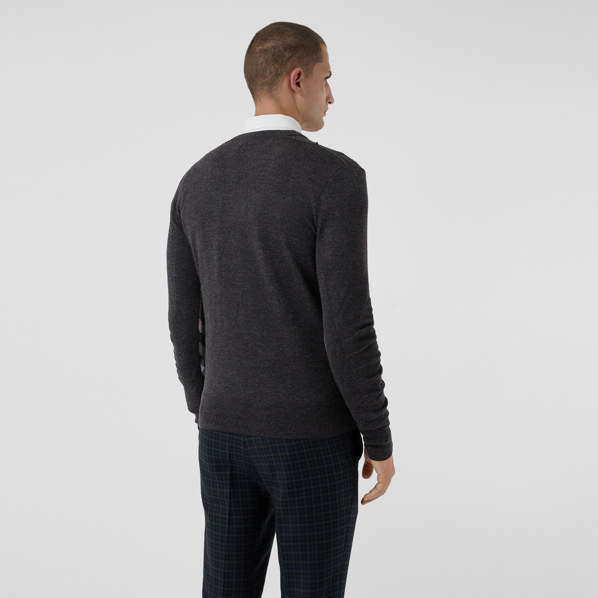 Check Detail Merino Wool V-neck Sweater in Charcoal - Men | Burberry - gallery image 2