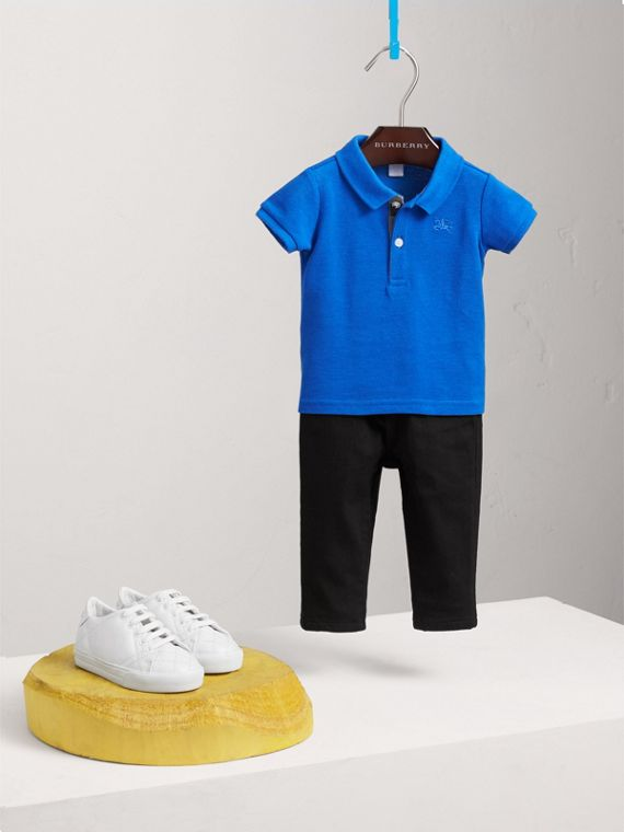 Check Placket Cotton Piqué Polo Shirt in Cobalt Blue