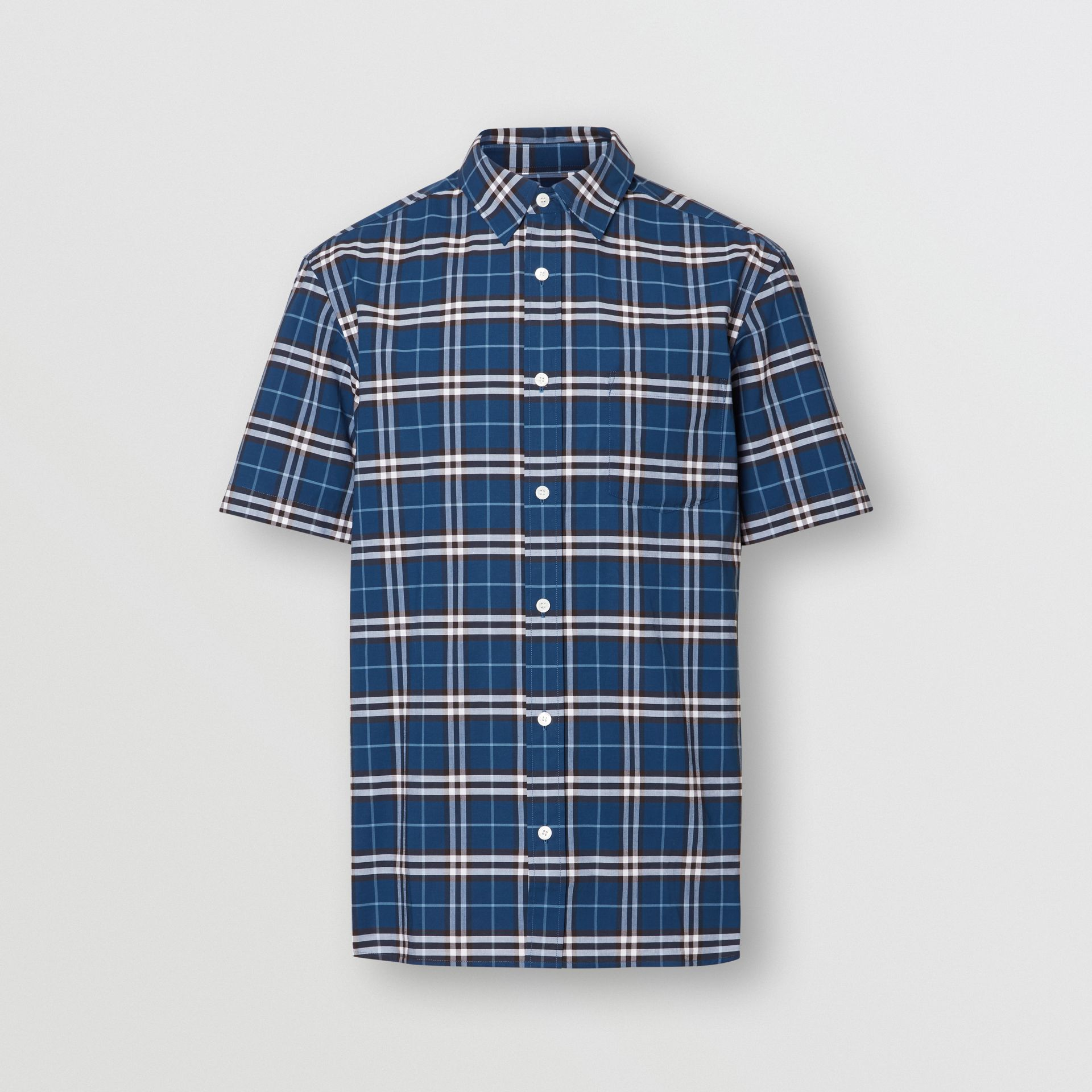 Short-sleeve Check Stretch Cotton Shirt in Steel Blue - Men | Burberry Singapore - gallery image 3