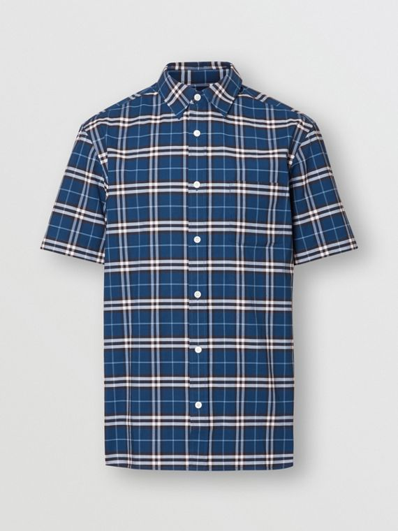 Short-sleeve Check Stretch Cotton Shirt in Steel Blue