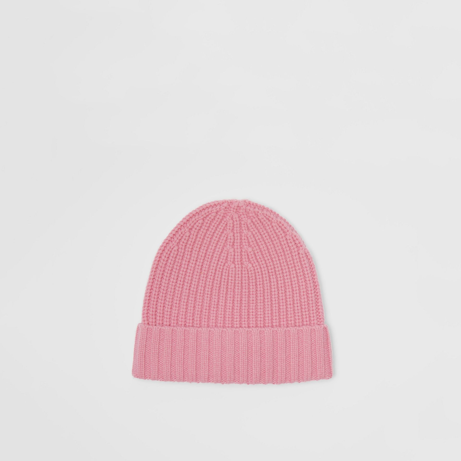 Embroidered Crest Rib Knit Wool Cashmere Beanie in Rose Pink | Burberry - gallery image 3