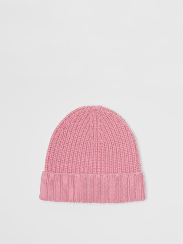 Embroidered Crest Rib Knit Wool Cashmere Beanie in Rose Pink | Burberry - cell image 3