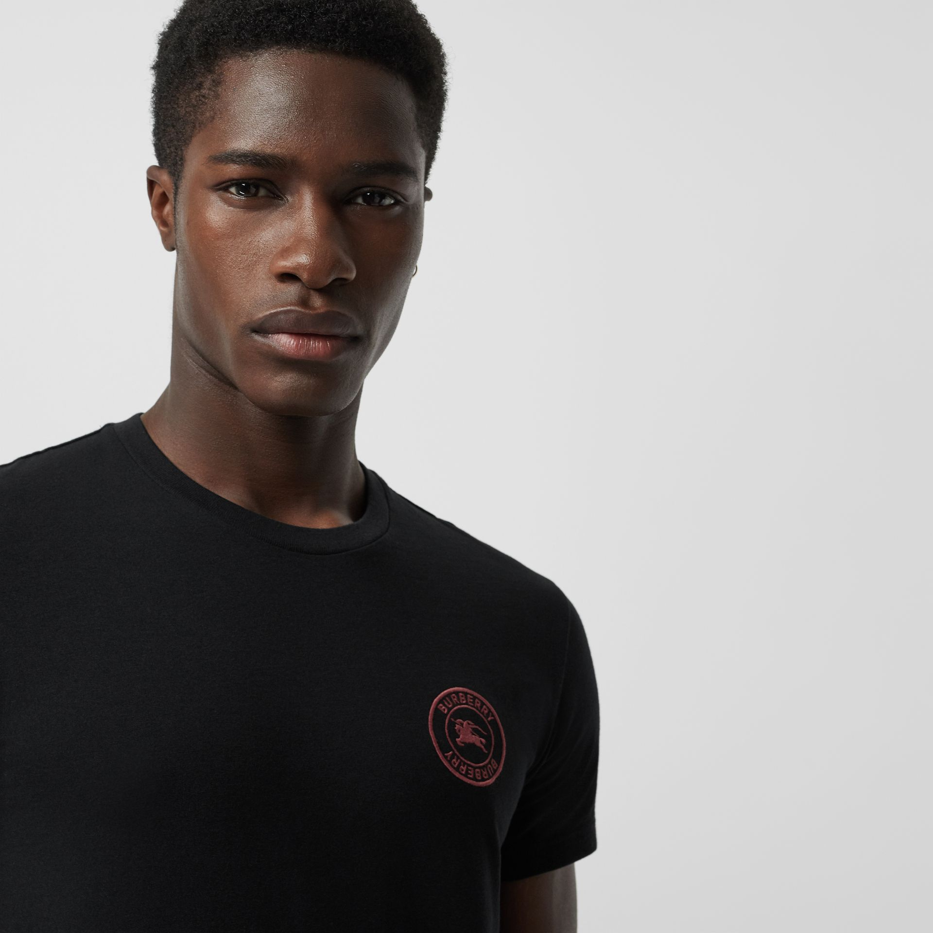 Embroidered Logo Cotton T-shirt in Black - Men | Burberry - gallery image 1