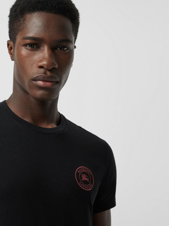 Embroidered Logo Cotton T-shirt in Black - Men | Burberry - cell image 1