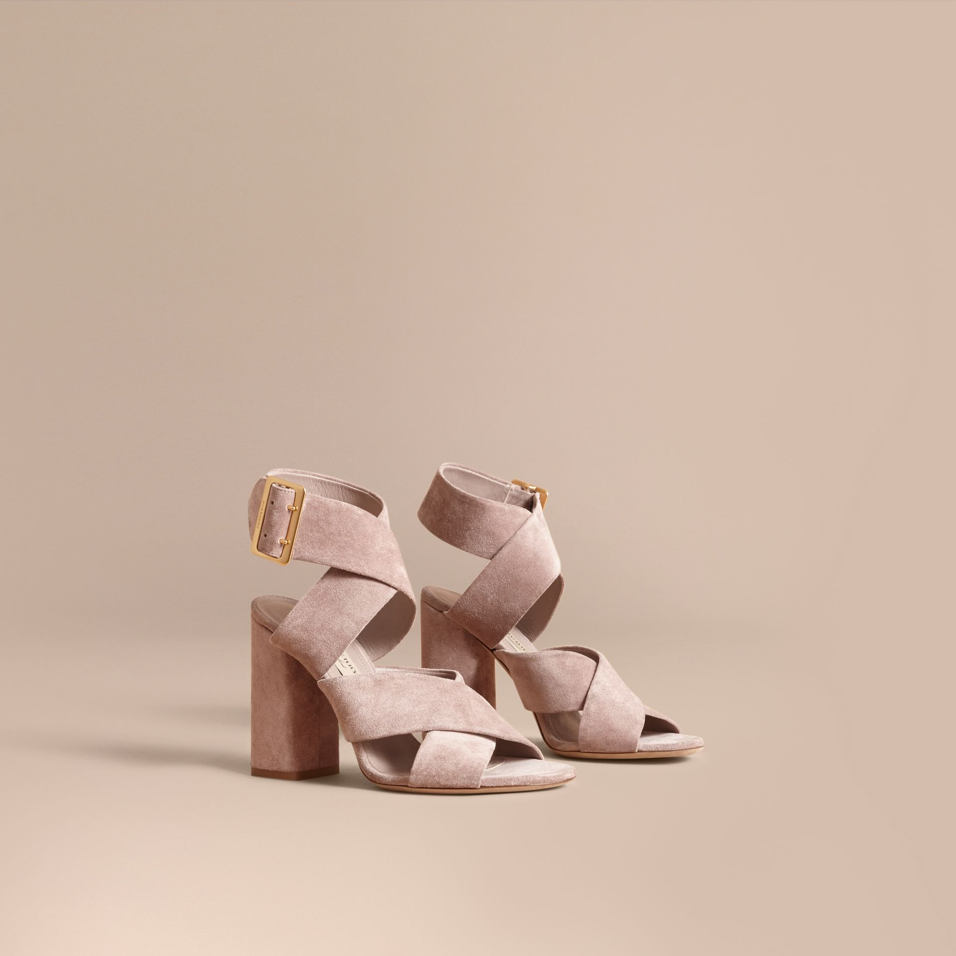 Buckle Detail Suede Crossover Strap Sandals in Ivory Pink - Women | Burberry - gallery image 1