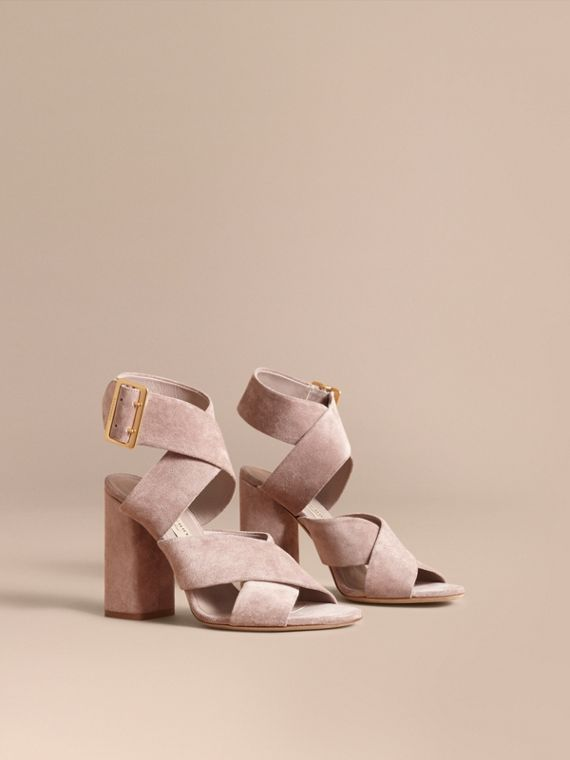 Buckle Detail Suede Crossover Strap Sandals