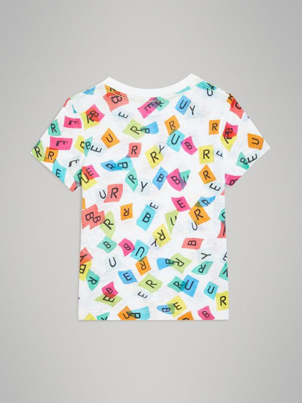 Confetti Letter Print Jersey T-shirt in White - Children | Burberry United Kingdom - cell image 3