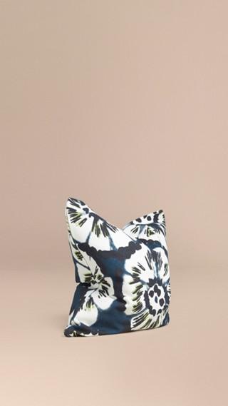 Housse de coussin en coton à motif floral façon tie and dye
