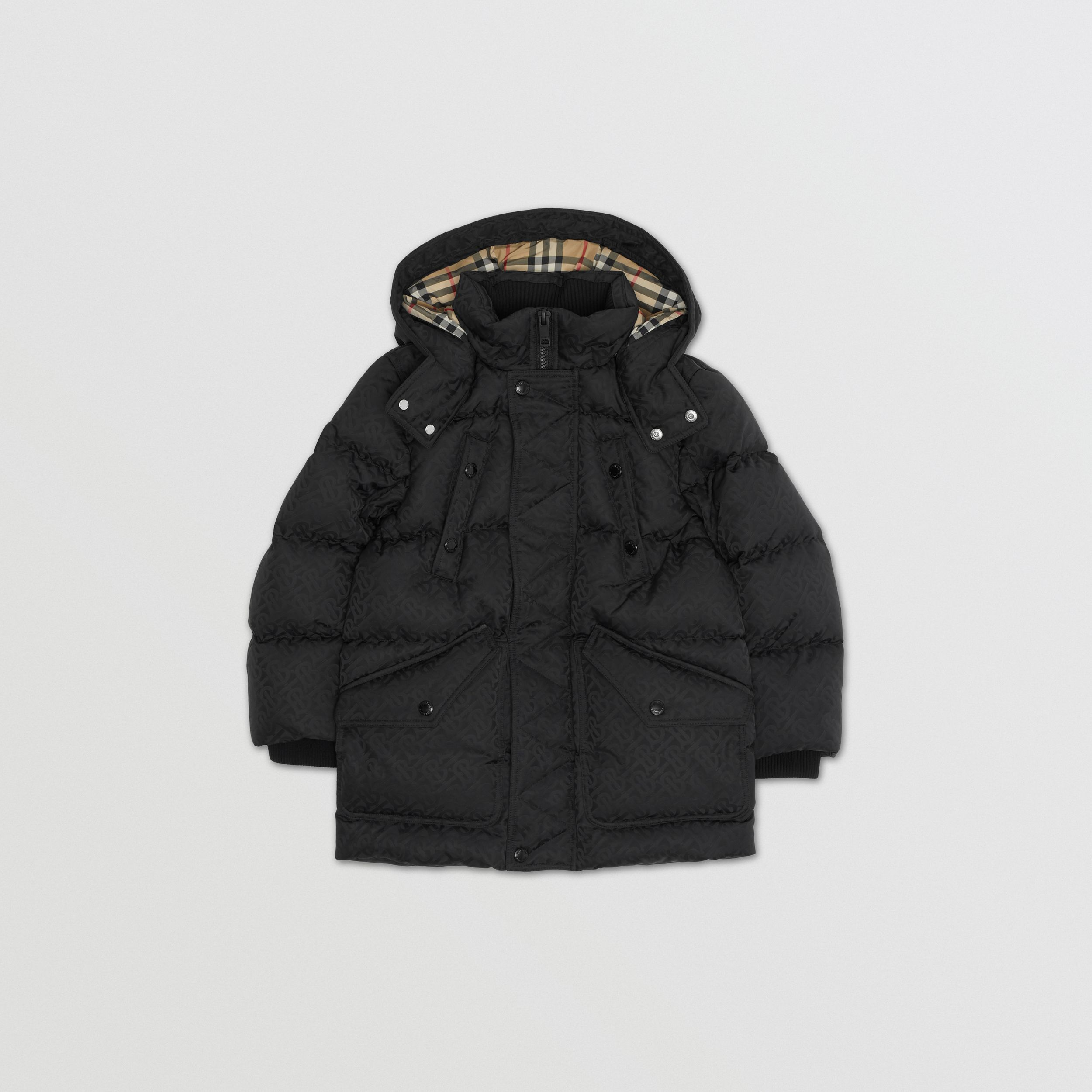 Detachable Hood Monogram Jacquard Puffer Coat in Black | Burberry - 1