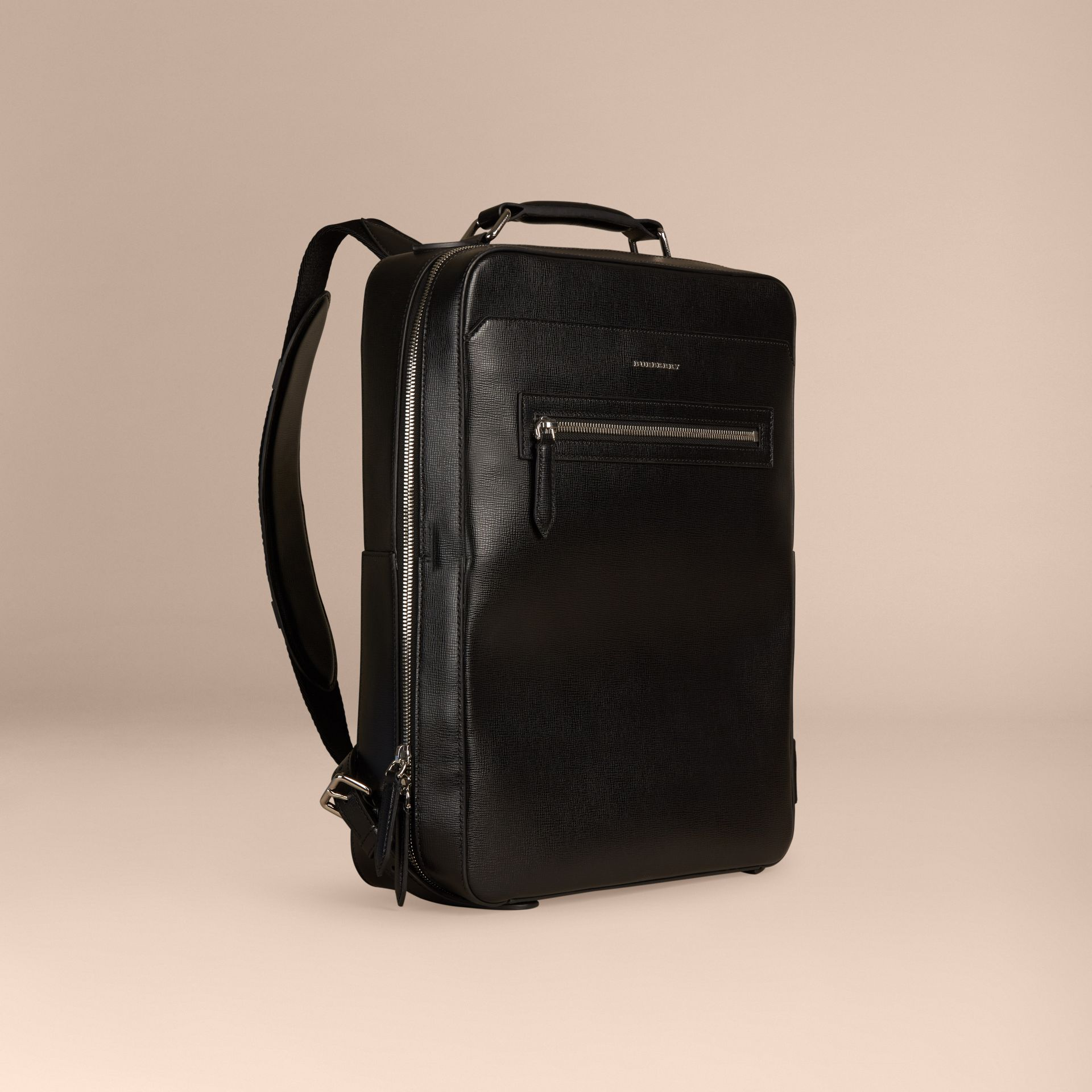 Black London Leather Backpack Black - gallery image 1