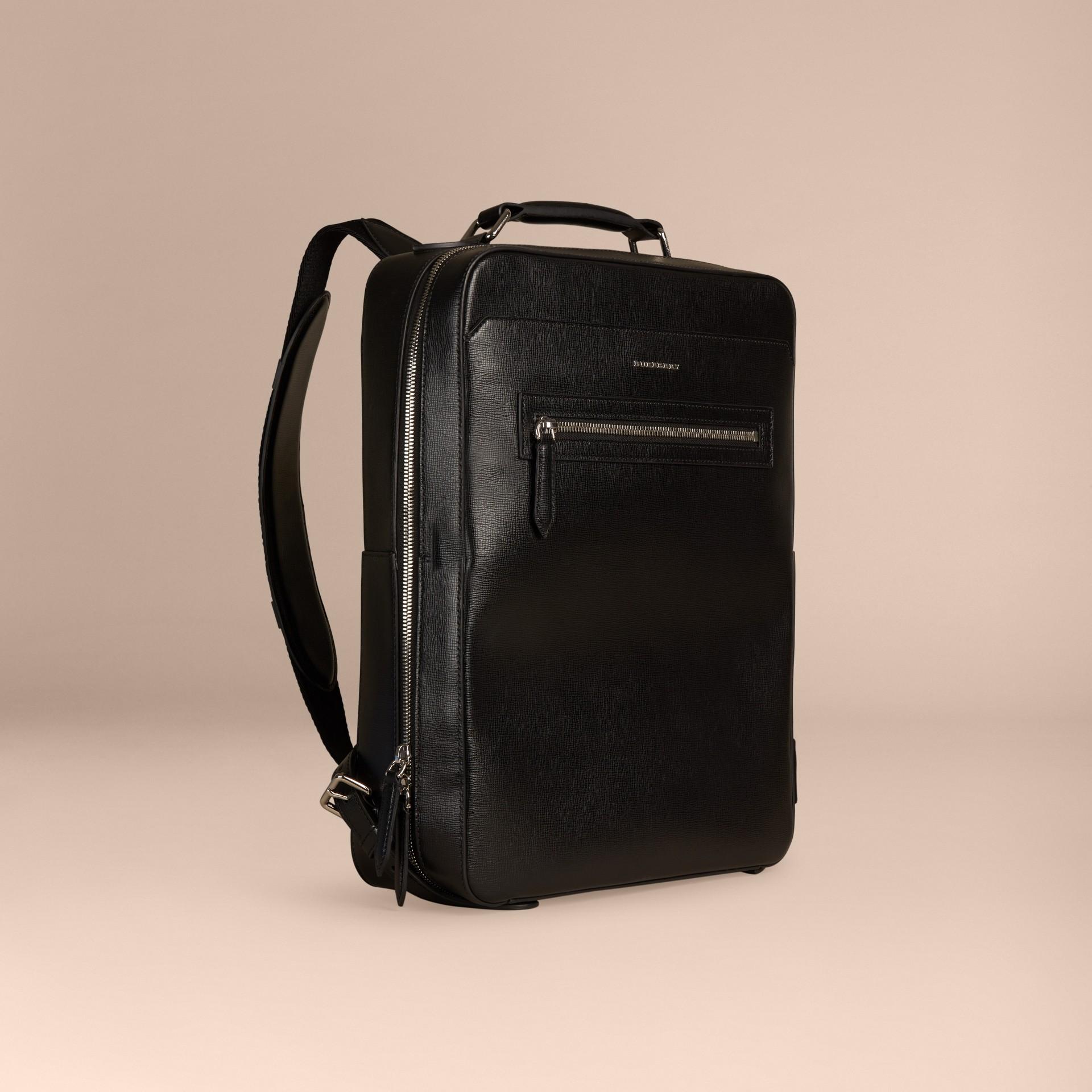 Noir Sac à dos en cuir texturé Noir - photo de la galerie 1