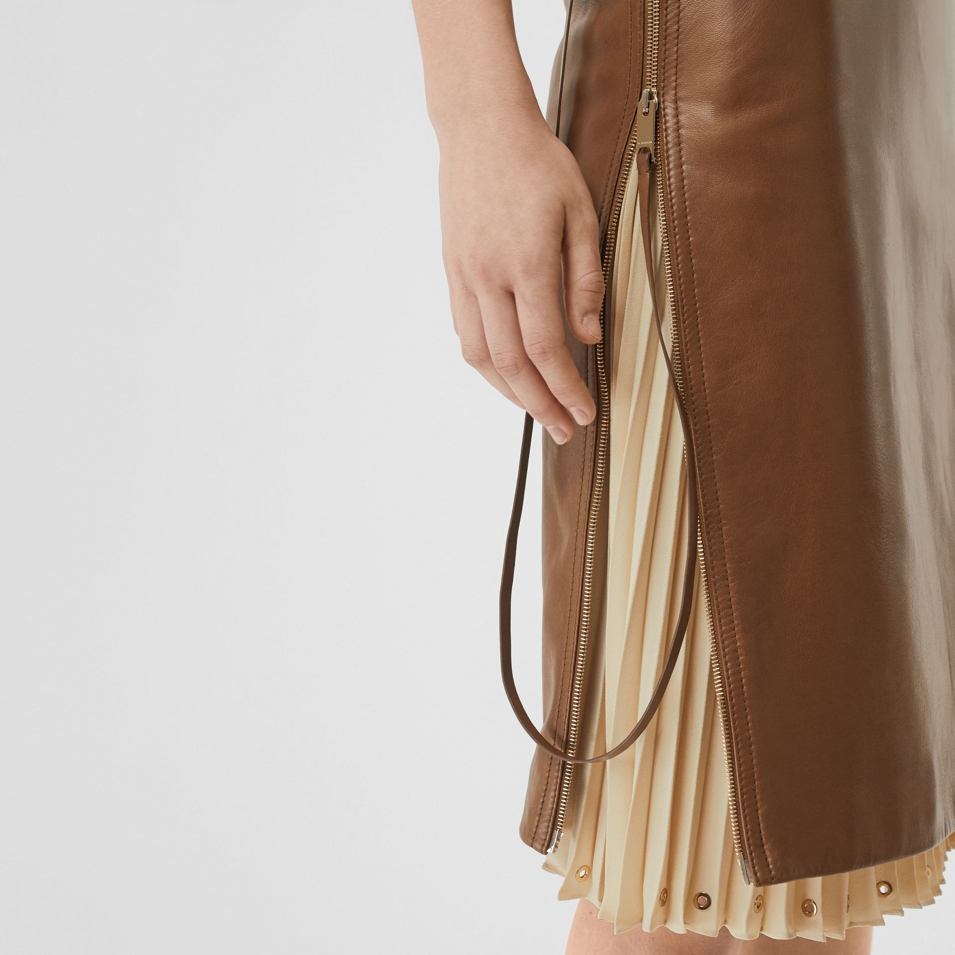 Double Zip Lambskin Skirt in Brown - Women | Burberry United Kingdom - gallery image 1