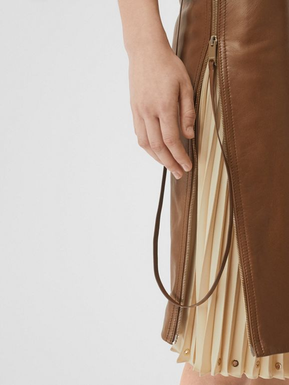 Double Zip Lambskin Skirt in Brown - Women | Burberry Australia - cell image 1
