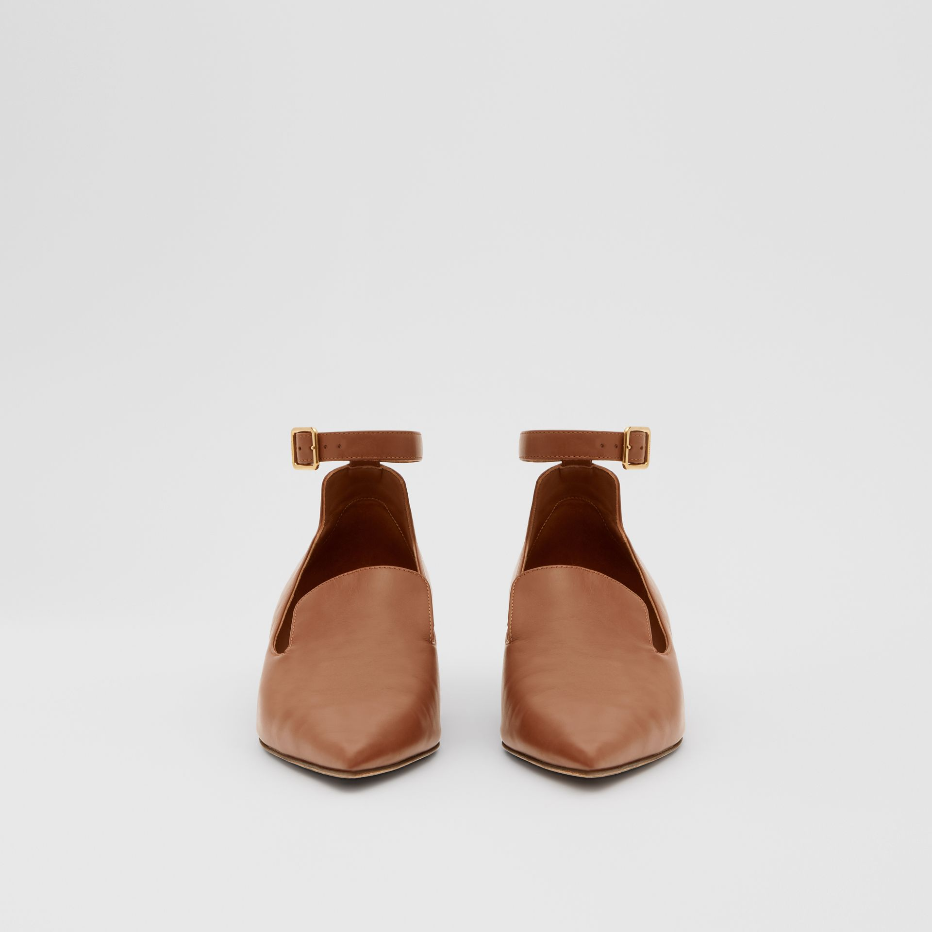 Leather Point-toe Kitten-heel Pumps in Soft Camel - Women | Burberry - gallery image 2
