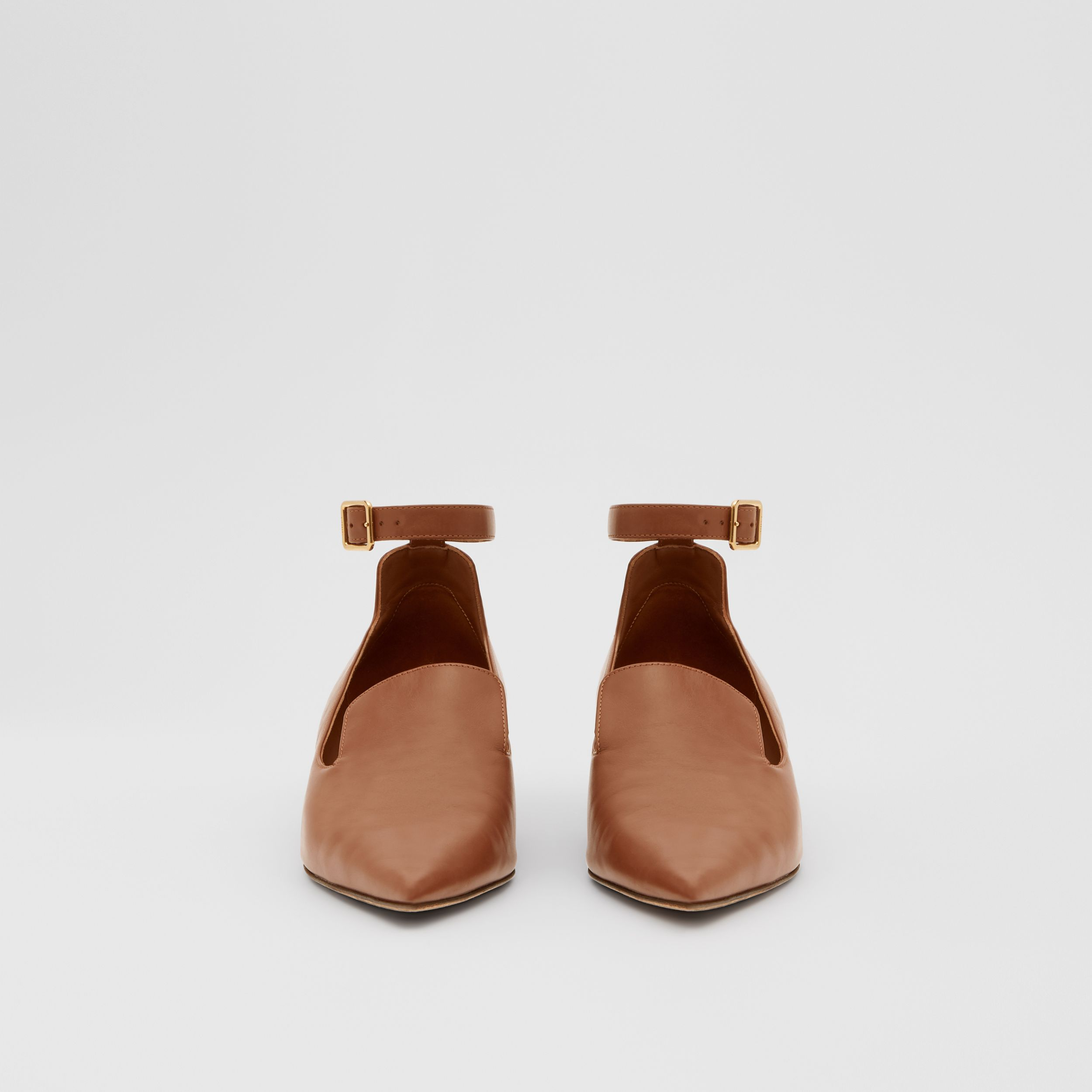 Leather Point-toe Kitten-heel Pumps in Soft Camel - Women | Burberry Hong Kong S.A.R - 3