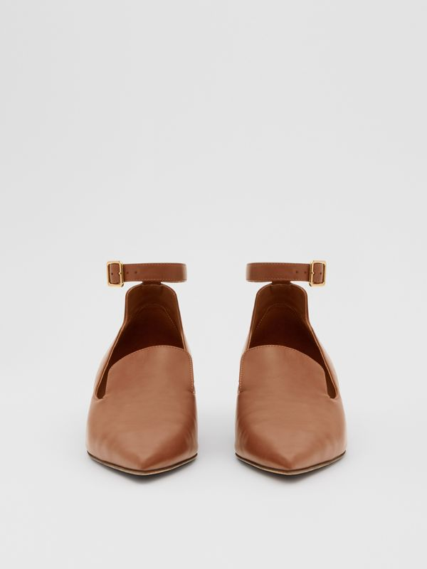 Leather Point-toe Kitten-heel Pumps in Soft Camel - Women | Burberry - cell image 2
