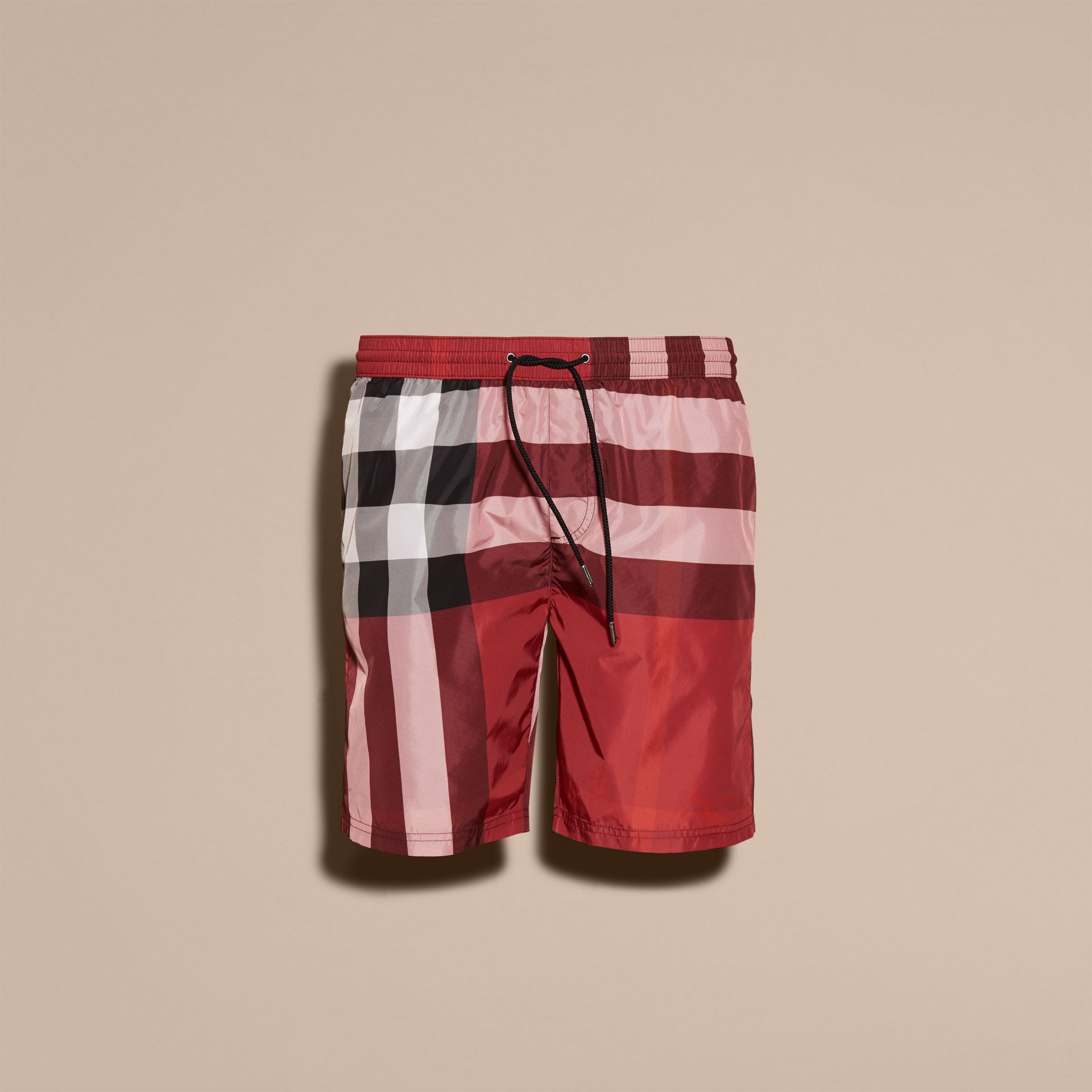 Check Swim Shorts in Parade Red - Men | Burberry - gallery image 4