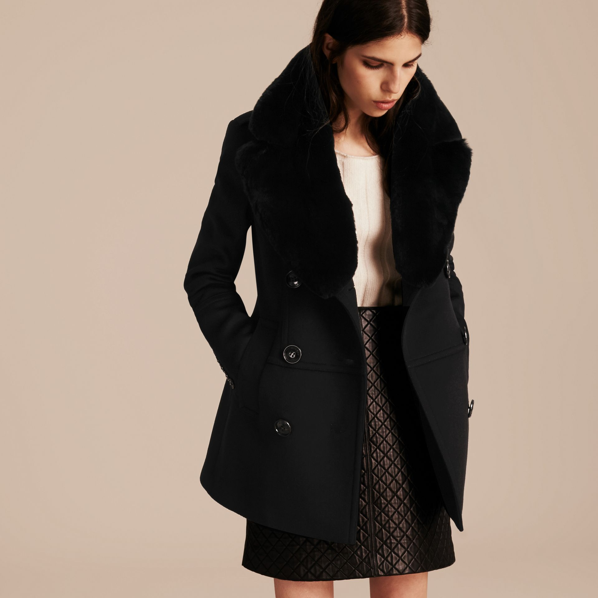 Black Wool Cashmere Pea Coat with Detachable Fur Collar - gallery image 7