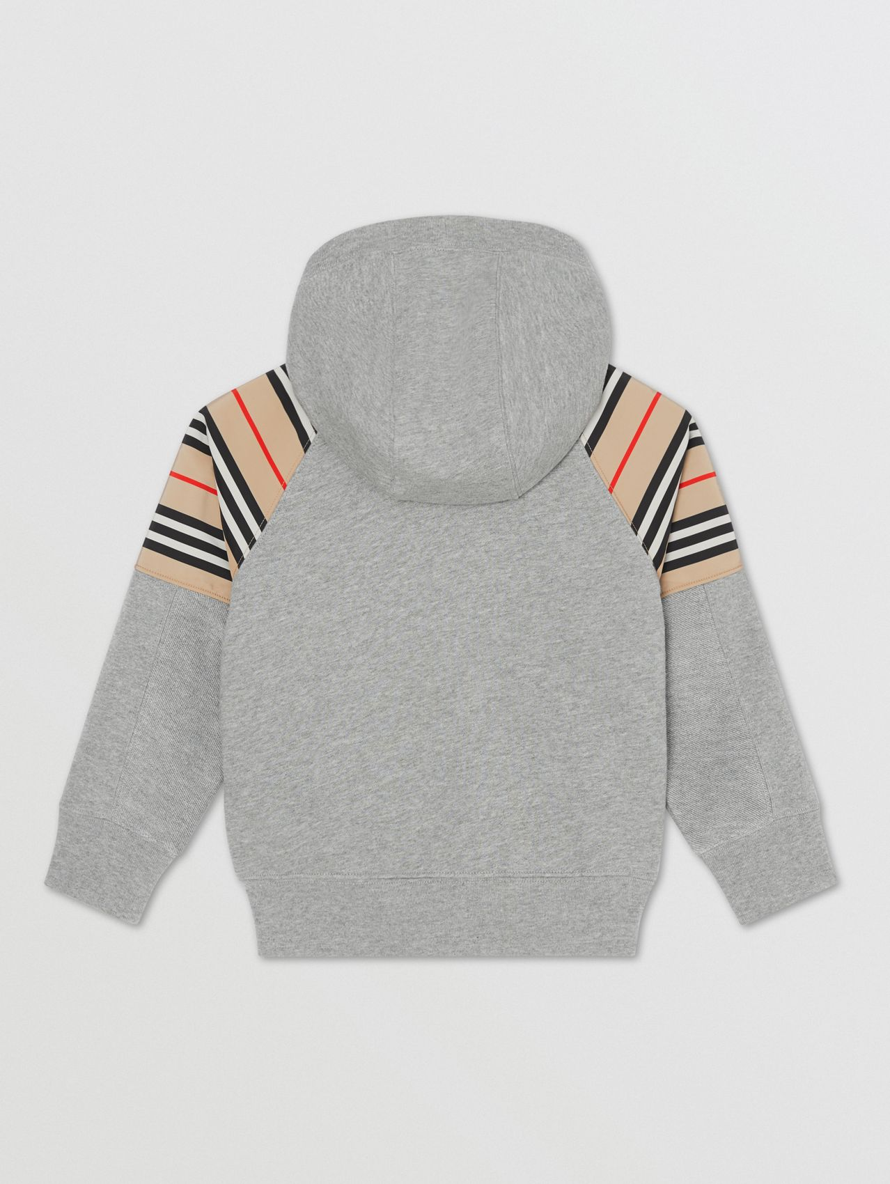 Icon Stripe Panel Cotton Hooded Top (Grey Melange)