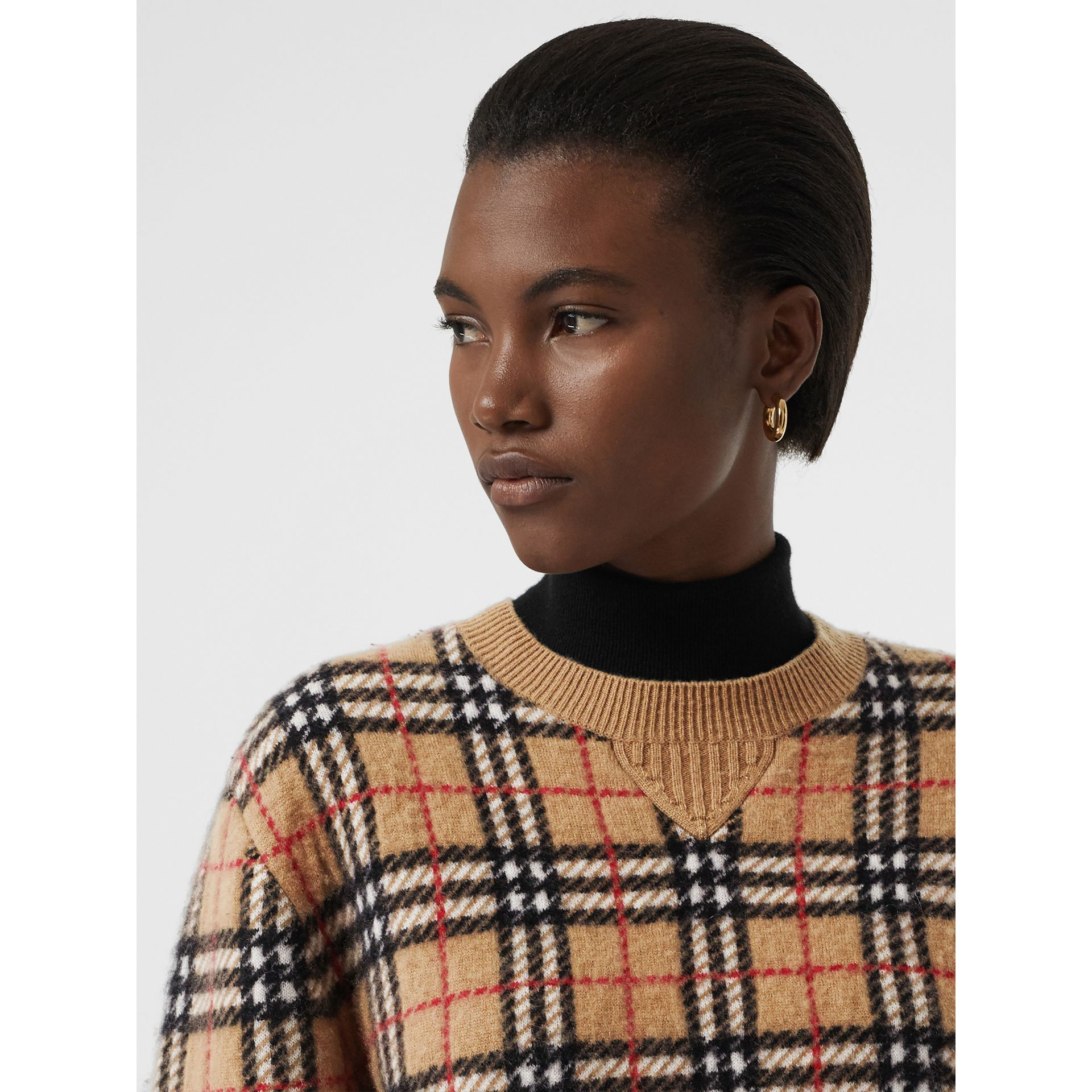 Vintage Check Cashmere Jacquard Sweater in Camel - Women | Burberry United Kingdom - gallery image 1