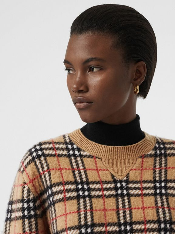 Vintage Check Cashmere Jacquard Sweater in Camel - Women | Burberry United Kingdom - cell image 1