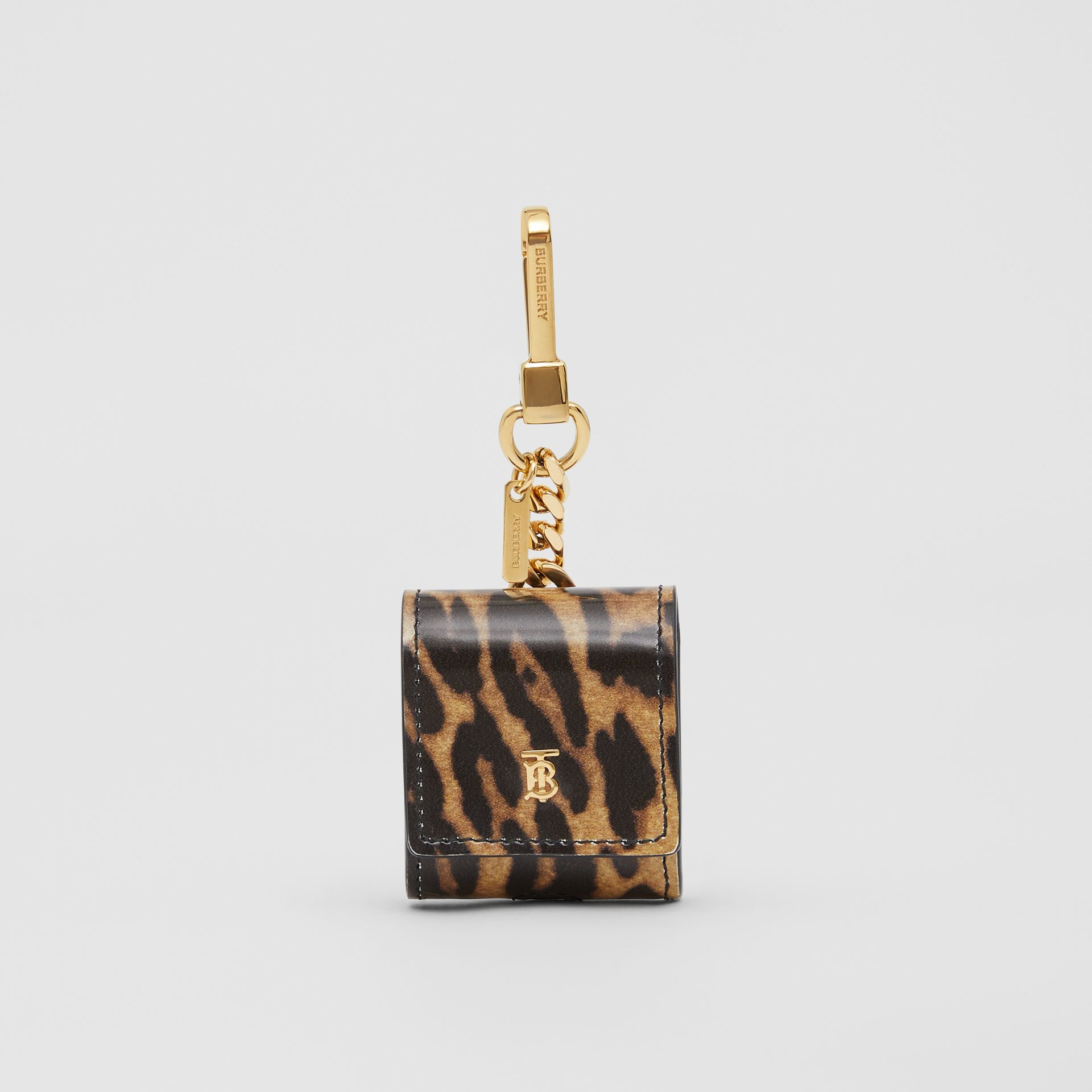 Leopard Print Leather Earphone Case in Dark Mustard | Burberry United States - gallery image 0