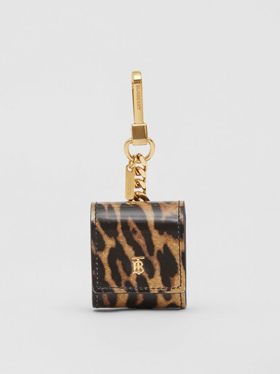 Leopard Print Leather Earphone Case in Dark Mustard