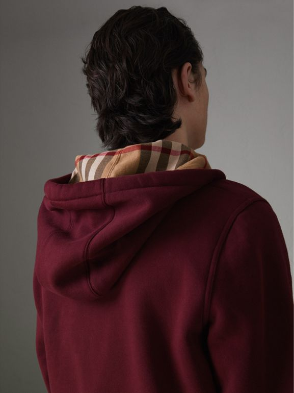 Check Detail Jersey Hooded Top in Dark Crimson - Men | Burberry - cell image 1