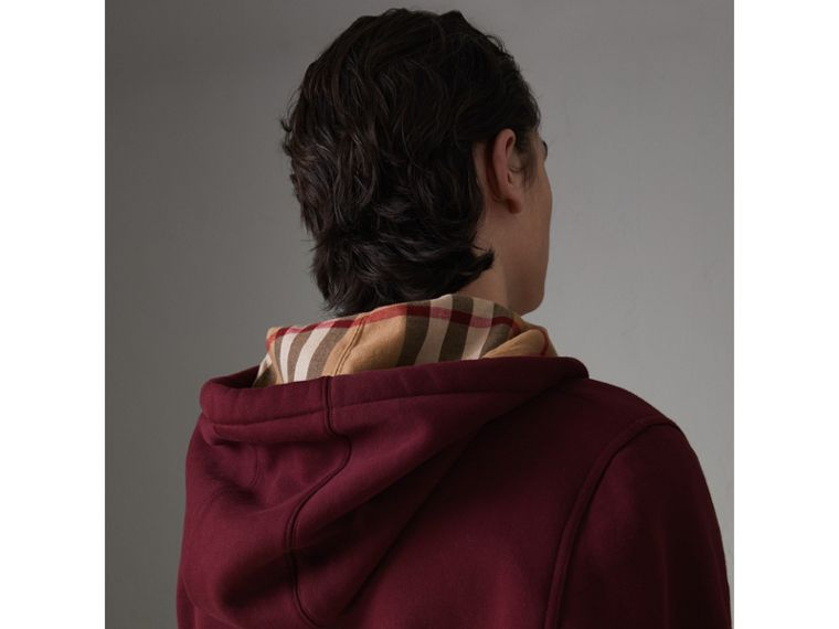 Check Detail Jersey Hooded Top in Dark Crimson - Men | Burberry United Kingdom - cell image 1