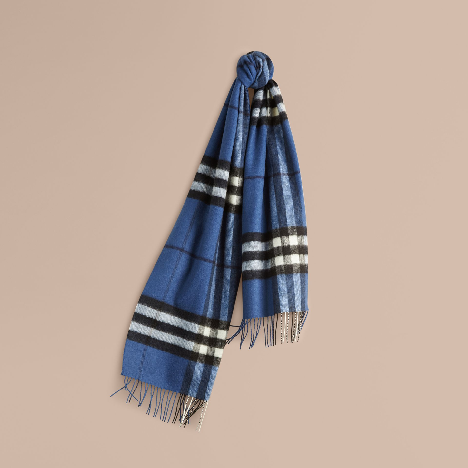 Cadet blue The Classic Cashmere Scarf in Check Cadet Blue - gallery image 6