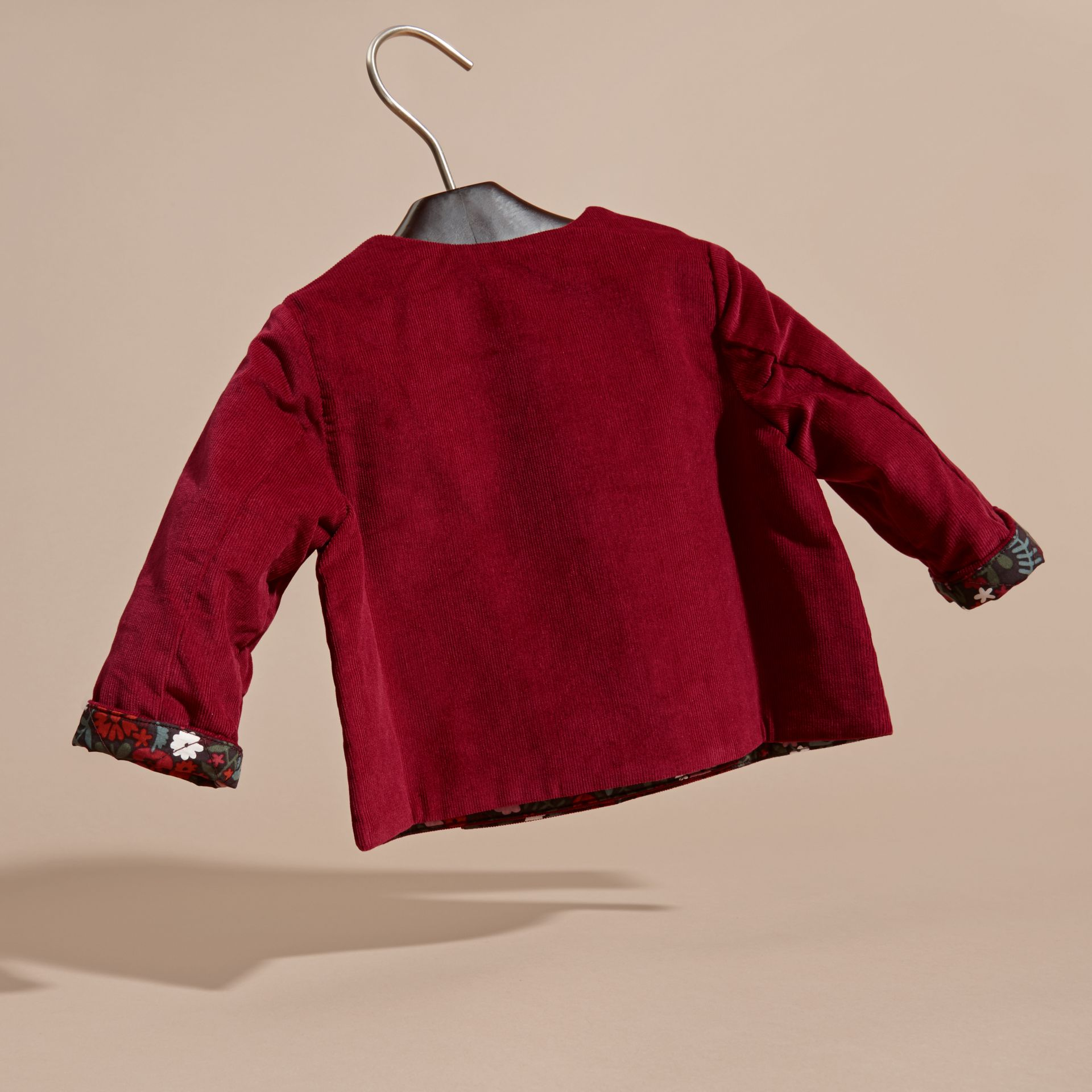 Damson pink Collarless Corduroy Jacket with Internal Quilting - gallery image 4