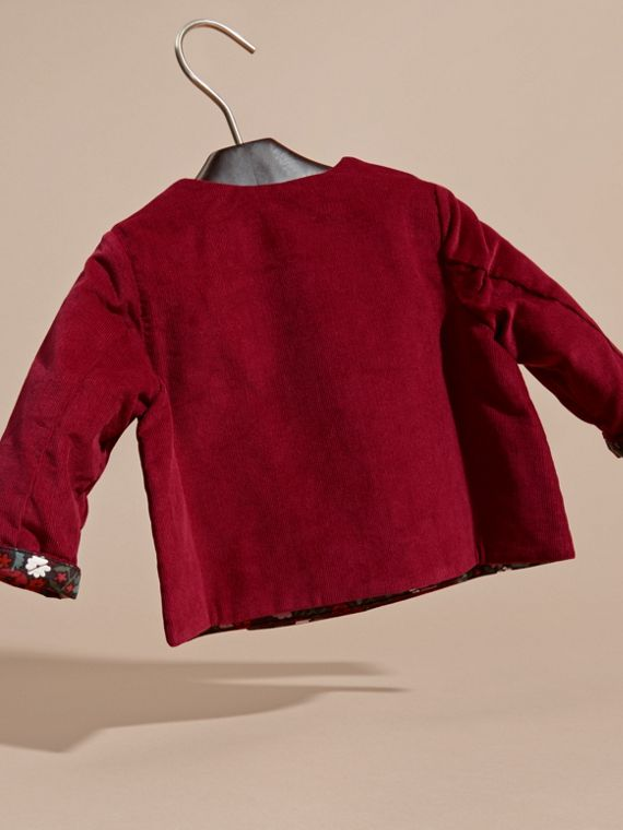 Damson pink Collarless Corduroy Jacket with Internal Quilting - cell image 3