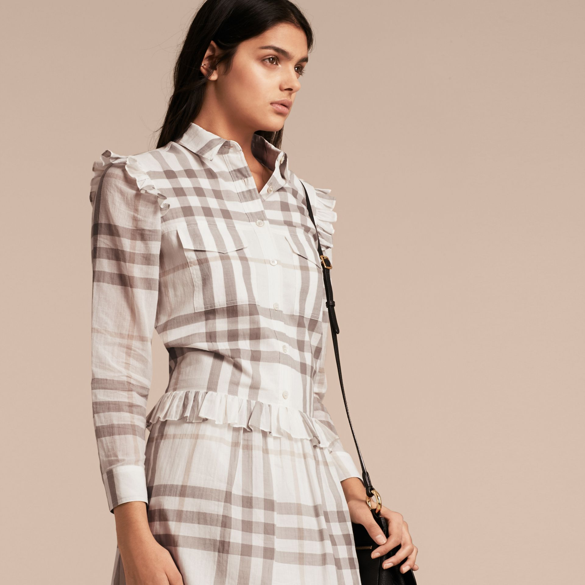 Ruffle Detail Cotton Check Shirt Dress in Natural White - gallery image 6